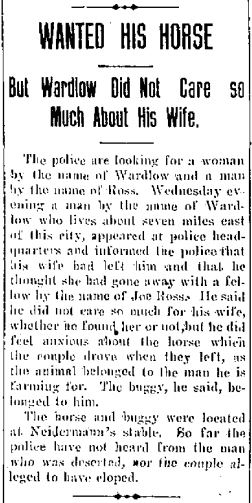 Wanted his horse, but Wardlow did not care so much about his wife