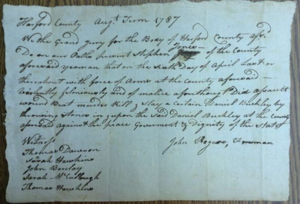 1787 Indictment of Stephen Jones, Harford County, Maryland
